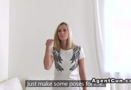 Fake agent records blonde with cum on cunt