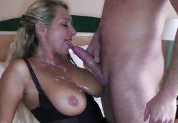 German Big Tit MILF seduce Big Dick Young Boy to Fuck