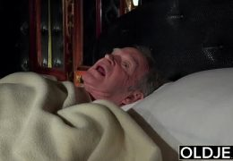 Grandfather fucks the hot maid fingers her young pussy and gets blowjob